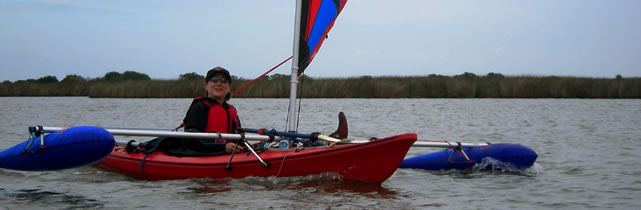 kayak sailing with BSD Batwing kayak sails